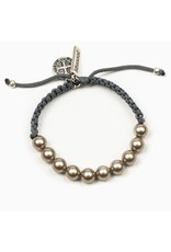 My Saint My Hero Radiant Pearl and Benedictine Blessing Bracelet- Black/Slate