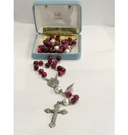 HMH Religious Fuchsia Dyed Tigereye Rosary with Pewter Crucifix