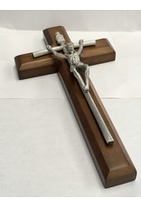 """WJ Hirten 10"""" Pewter Papal Crucifix Mounted"""
