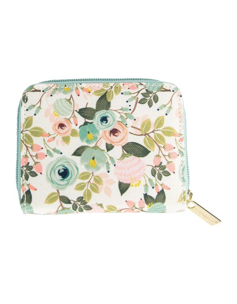 Mary Square Hide & Seek Wallet- Peach Floral