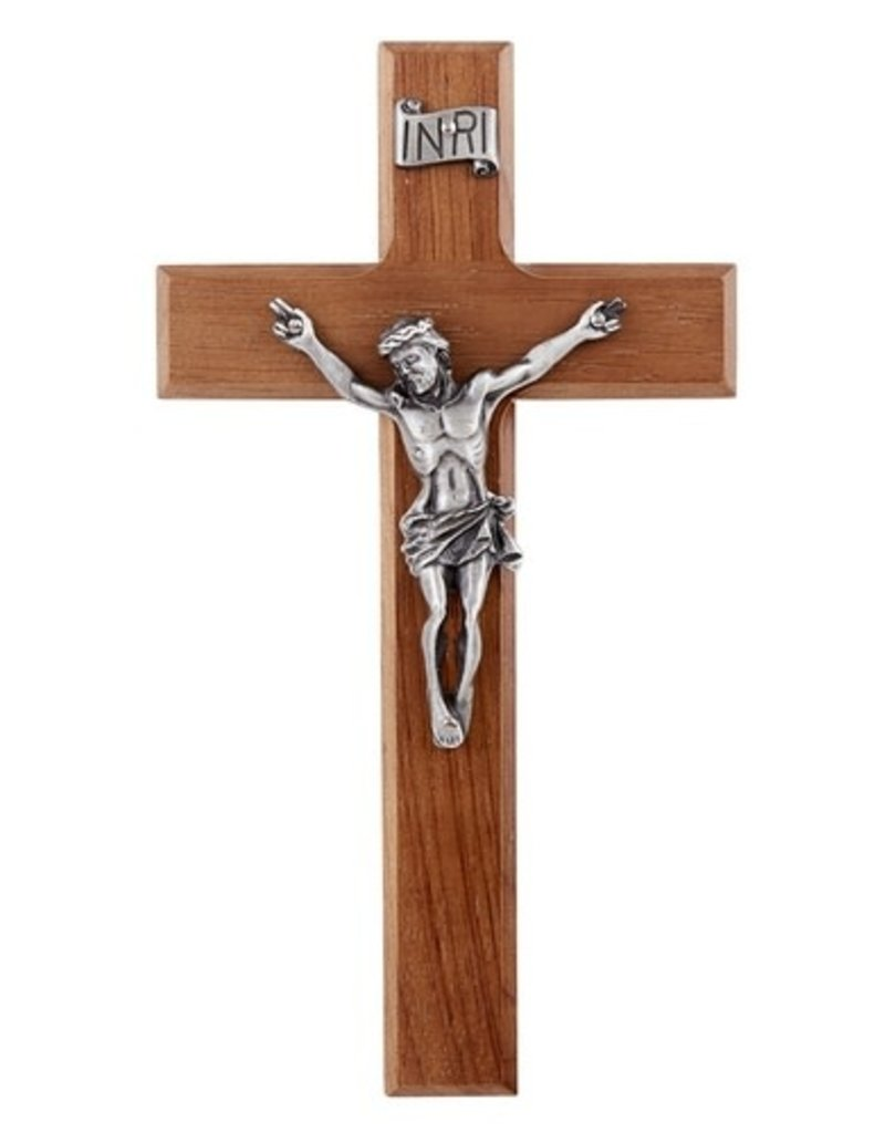 "James Brennan 8"" Walnut Crucifix with Antique Silver Finish Corpus"