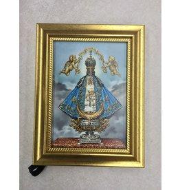 """WJ Hirten Virgin De San Juan 5"""" X 7"""" Gold Frame"""