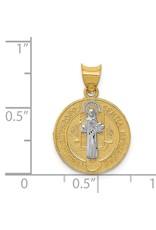 14k  Rhodium Circle St. Benedict Medal Pendant