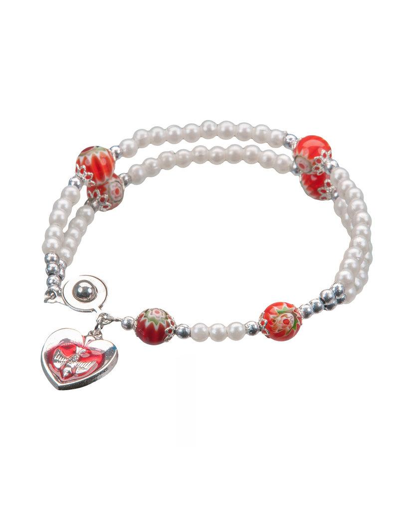 WJ Hirten Confirmation Bracelet with card in Red Organza Bag
