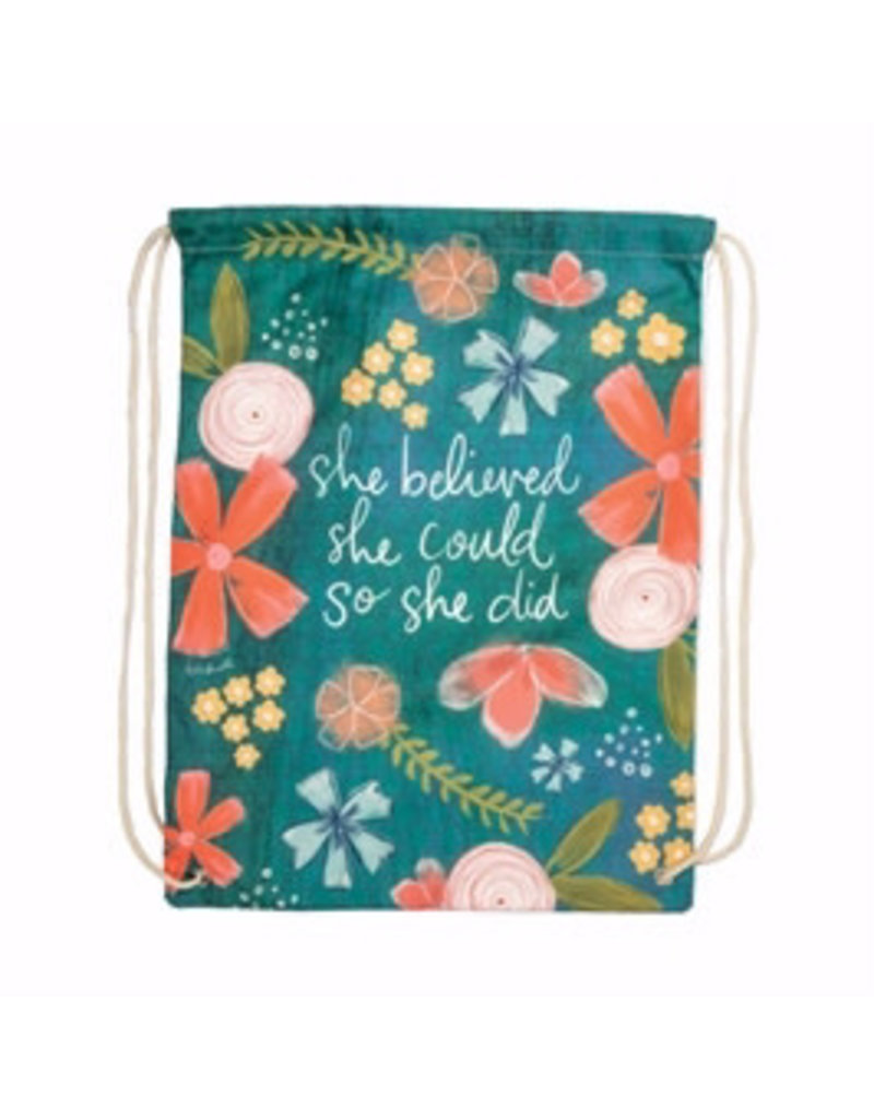 """BrownlowGift Drawstring Backpack-Simple Inspirations-She Believed (13"""" X 18"""")"""