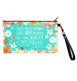 """BrownlowGift Zippered Bag-Simple Inspirations-Faith Hope Love (8.5"""" x 5"""")"""