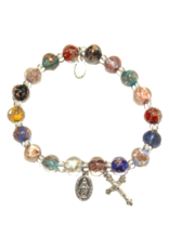 Lumen Mundi Multi Color Genuine Murano SIlver Tone Stretch Bracelet with Sommerso Beads, Miraculous Medal and Crucifix