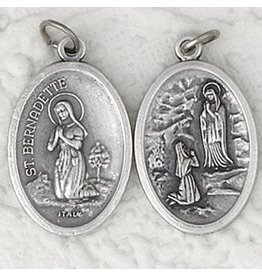 St. Bernadette and Our Lady of Lourdes Oxidized Medal