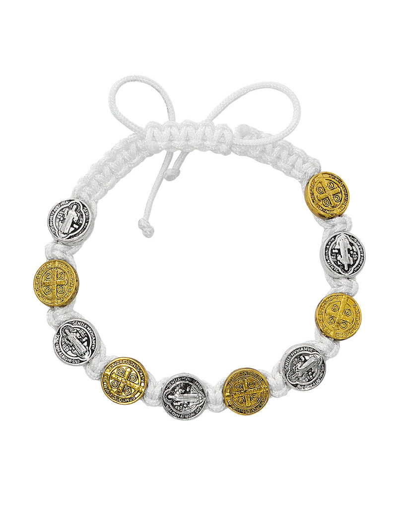 McVan White with Silver and Gold St. Benedict Medal Cord Bracelet