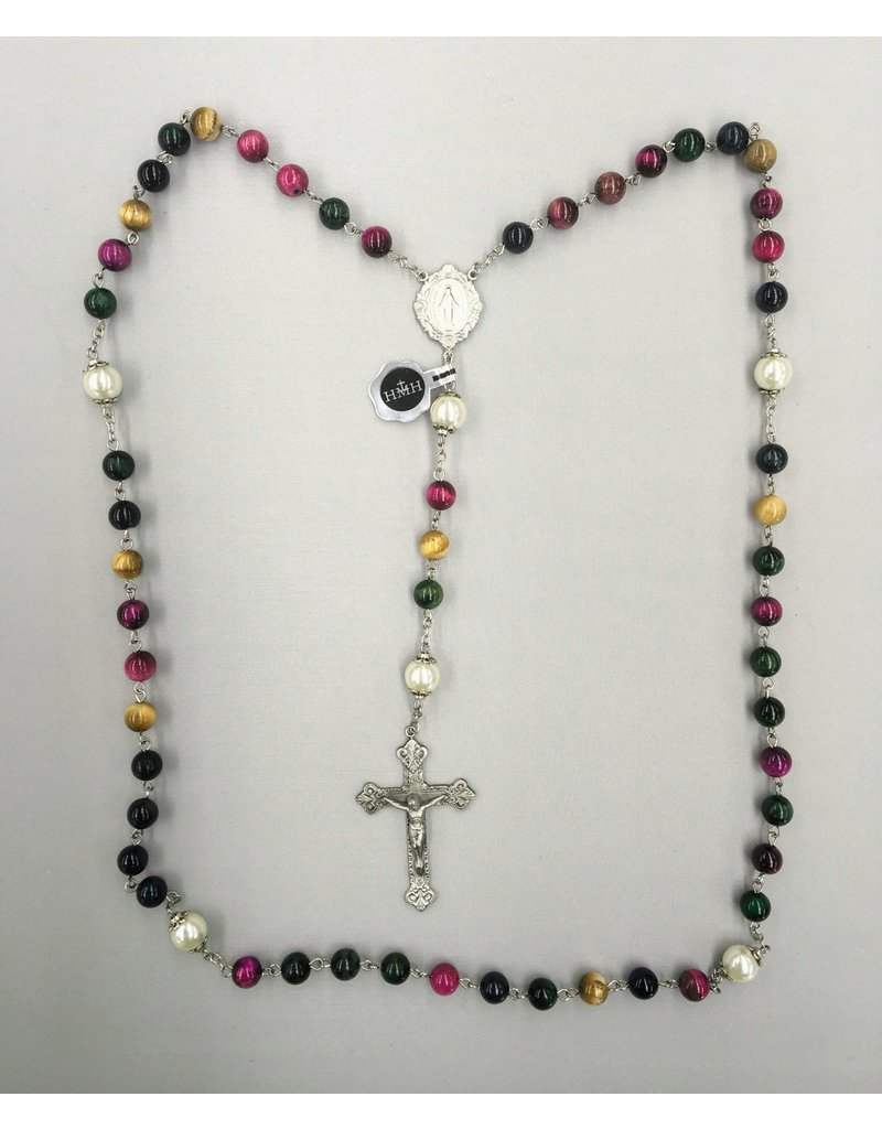 HMH Religious Multi-Color Dyed Tiger Eye Rosary with Pewter Crucifix
