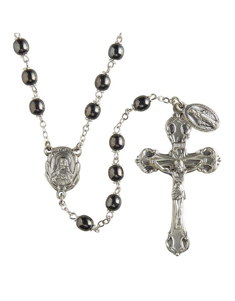 Christian Brands Men's Hematite Italian Lock-Link Rosary