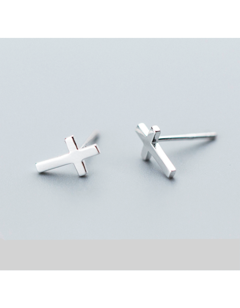 HMH Religious Sterling Silver Cross Earrings and Cross Ring