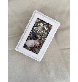 WJ Hirten White Baptism Stained Glass Music Box