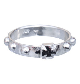 Sine Cera Sterling Silver Cross Rosary Ring Size 10