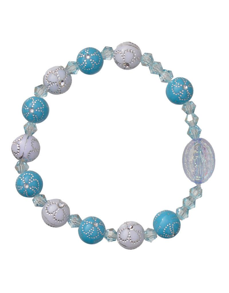 Sine Cera 8mm Blue Flower Acrylic Children's Rosary Bracelet