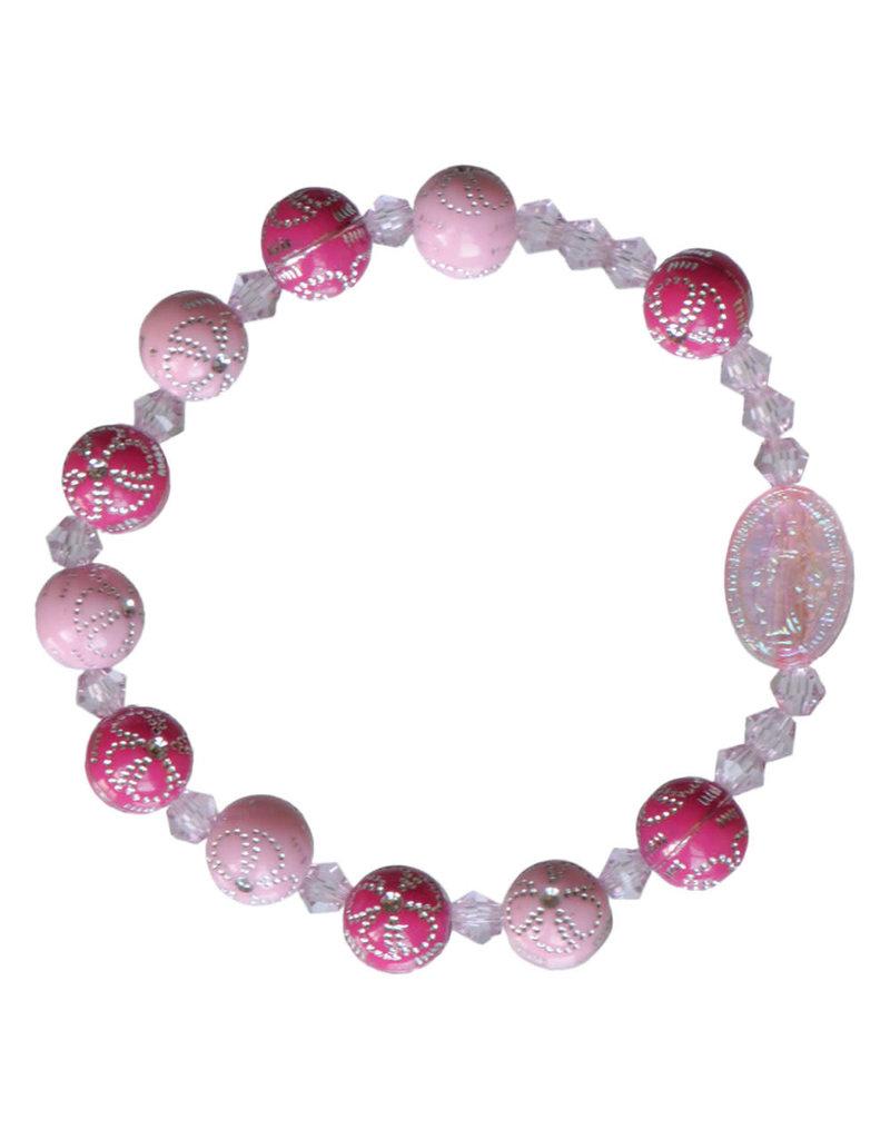 Sine Cera 8mm Pink Flower Acrylic Children's Rosary Bracelet