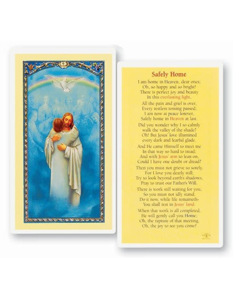 WJ Hirten Safely Home Laminated Holy Card