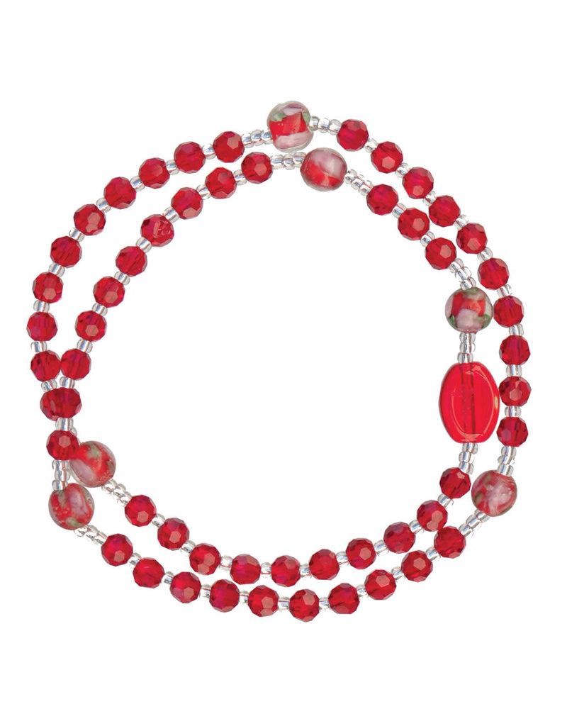 Sine Cera 4mm Red Genuine Crystal Twist Rosary Bracelet