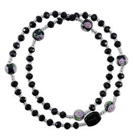 Sine Cera 4mm Black Genuine Crystal Twist Rosary Bracelet
