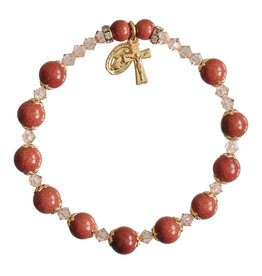 Sine Cera 8mm Genuine Goldstone Rosary Bracelet