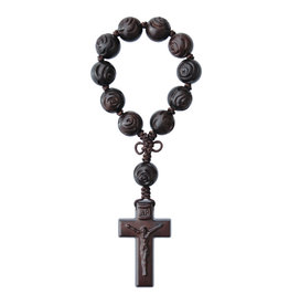 Sine Cera 13mm Rose Carved Jujube Wood One Decade Rosary