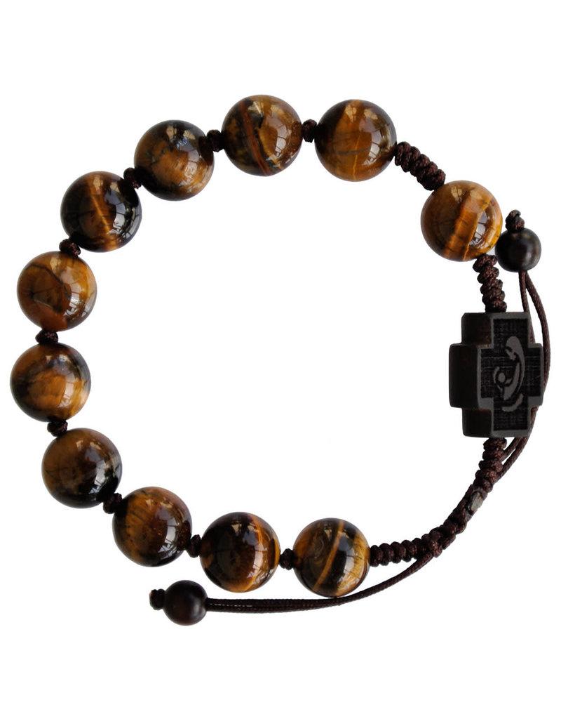 Sine Cera 10mm Adjustable Tiger Eye and Jujube Wood Rosary Bracelet