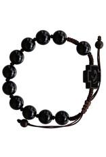 Sine Cera 10mm Adjustable Black Onyx and Jujube Wood Rosary Bracelet