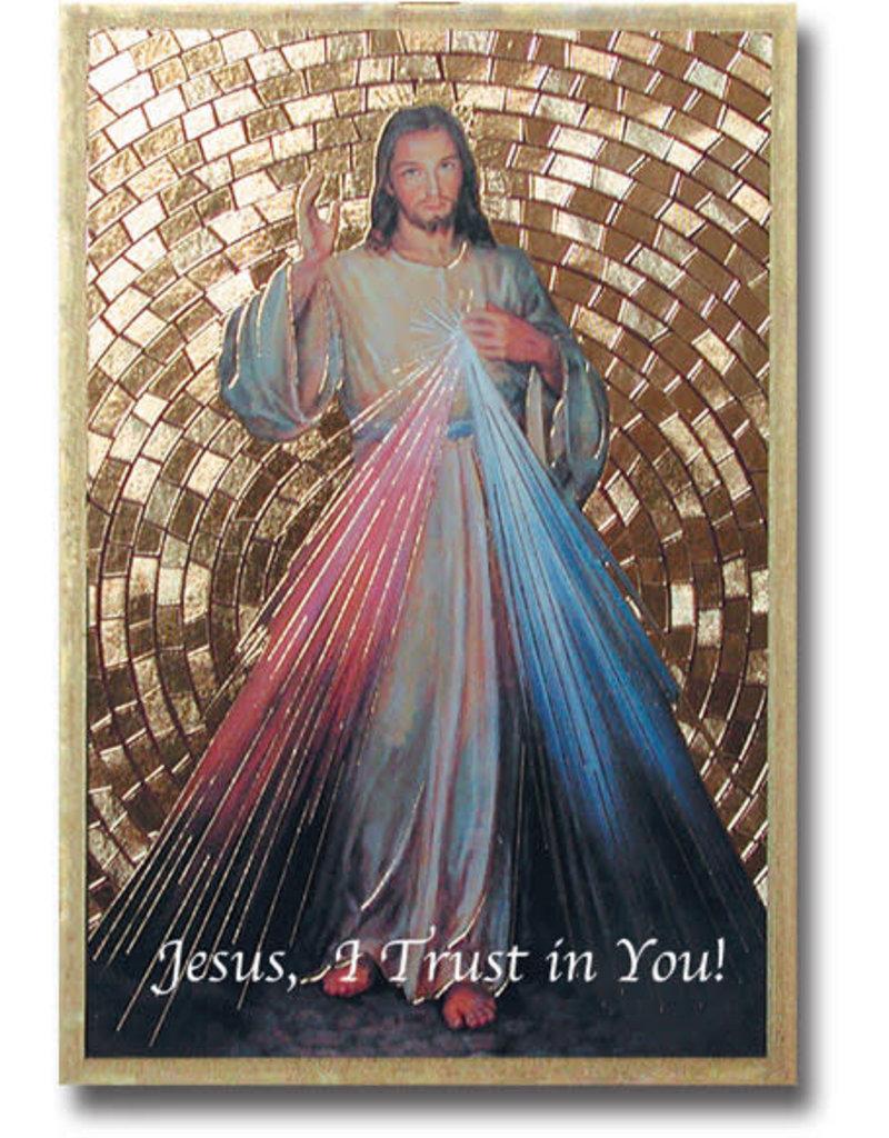 WJ Hirten 4'' x 6'' Divine Mercy Gold Foil Mosaic Plaque