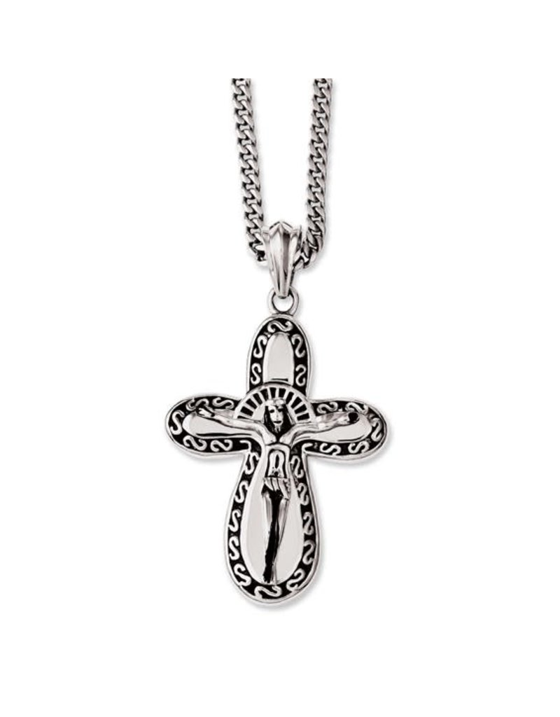 """24"""" Stainless Steel Antiqued and Polished Crucifix  Necklace"""