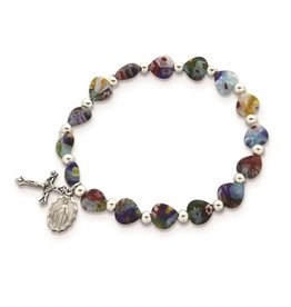 Silver-tone Bead and Multicolored Glass Heart Beads with Miraculous Medal and Crucifix Dangles Stretch Bracelet