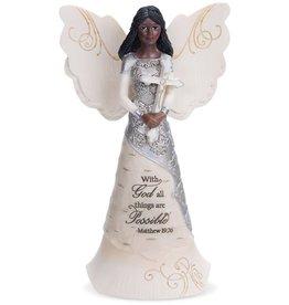 "pavilion 6.5"" Ebony Angel Holding Cross Figurine"