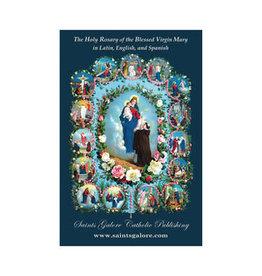 Saints Galore Catholic Publishing Holy Rosary Booklet in Latin, English and Spanish