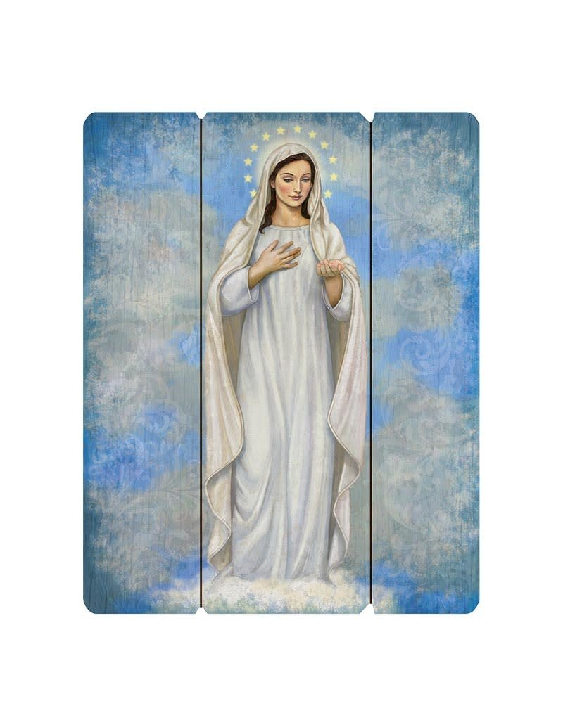 """Gerffert 12"""" x 15"""" Our Lady of Medjugorje Wooden Plaque"""