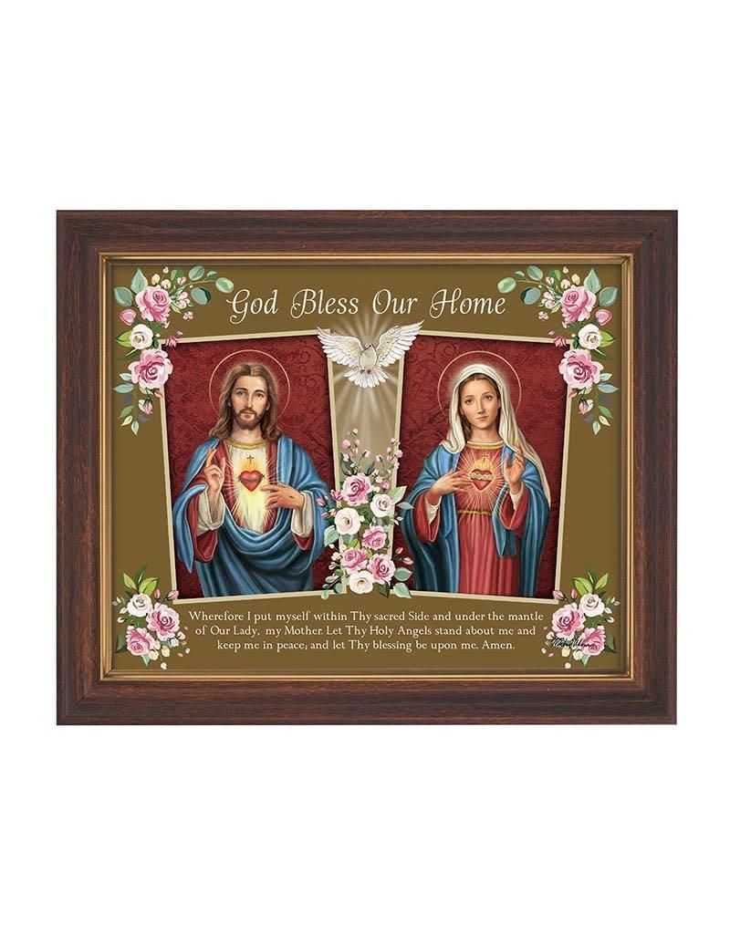 """Gerffert 12.5"""" x 10"""" God Bless Our Home Framed Print"""