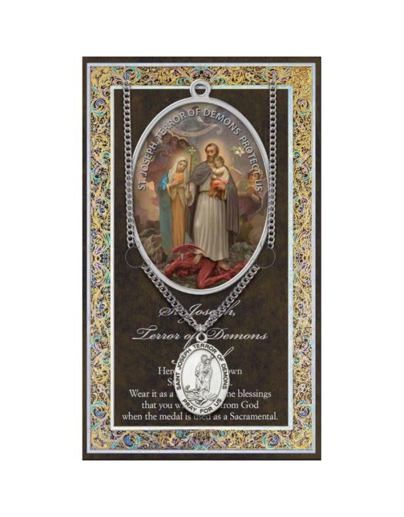 WJ Hirten St. Joseph Terror of Demons Pewter Medal with Stainless Steel Chain