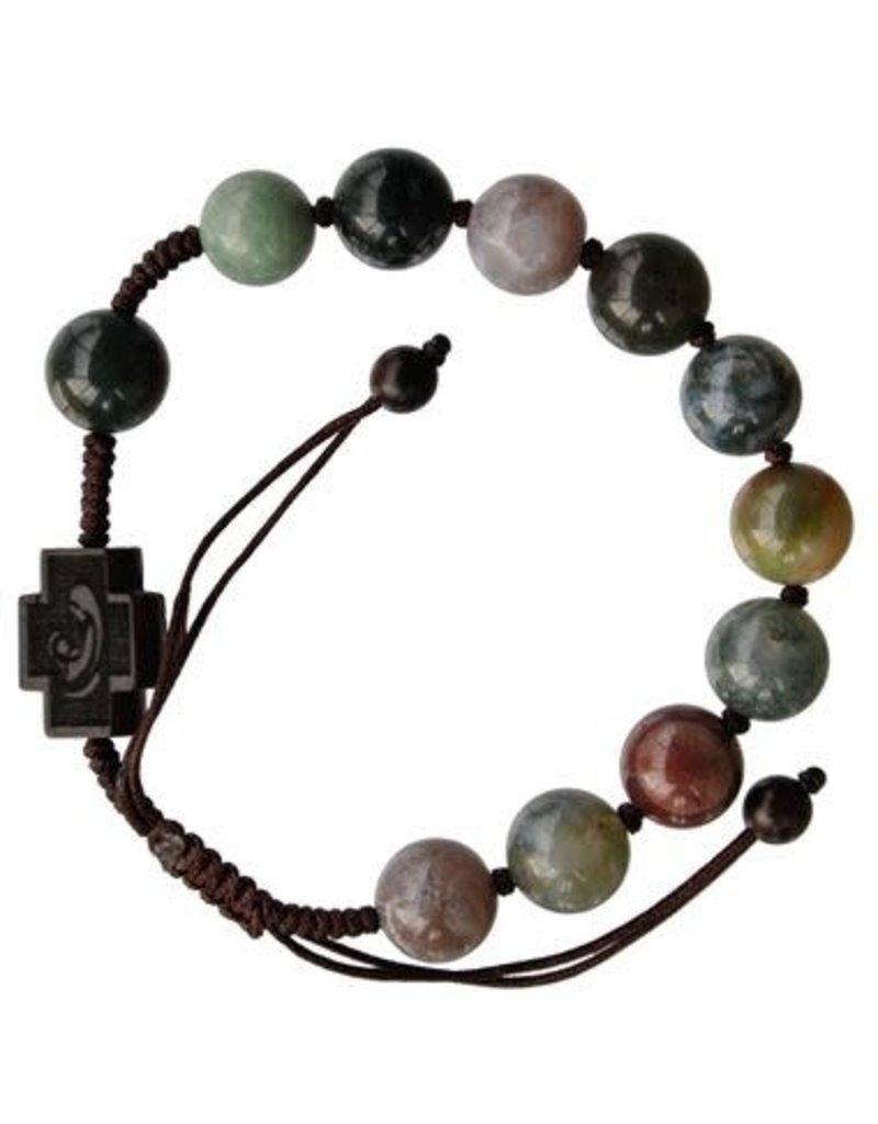 Sine Cera 10mm Adjustable Multicolor Onyx and Jujube Wood Rosary Bracelet