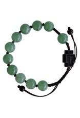 Sine Cera 10mm Adjustable Green Jade and Jujube Wood Rosary Bracelet