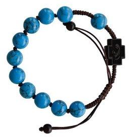 Sine Cera 10mm Adjustable Turquoise and Jujube Wood Rosary Bracelet