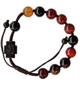 Sine Cera 10mm Adjustable Agate and Jujube Wood Rosary Bracelet
