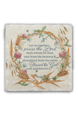 """Nelsons Fine Art and Gifts """"Praise the Lord"""" Tumbled Stone Coaster"""