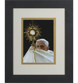 Nelsons Fine Art and Gifts Pope Benedict with Monstrance Matted - Black Framed Art