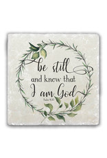 """Nelsons Fine Art and Gifts """"Be Still and Know"""" Tumbled Stone Coaster"""