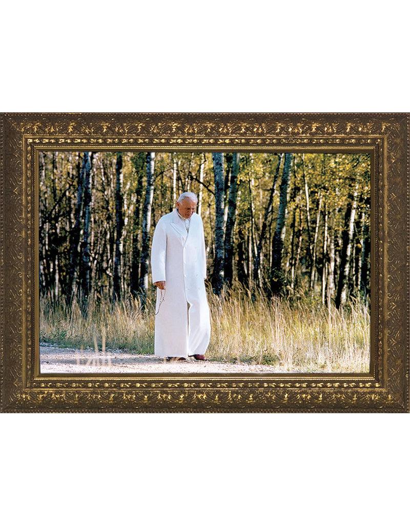 "Nelsons Fine Art and Gifts 8"" x 12"" Pope John Paul II Walking Rosary Framed Art"