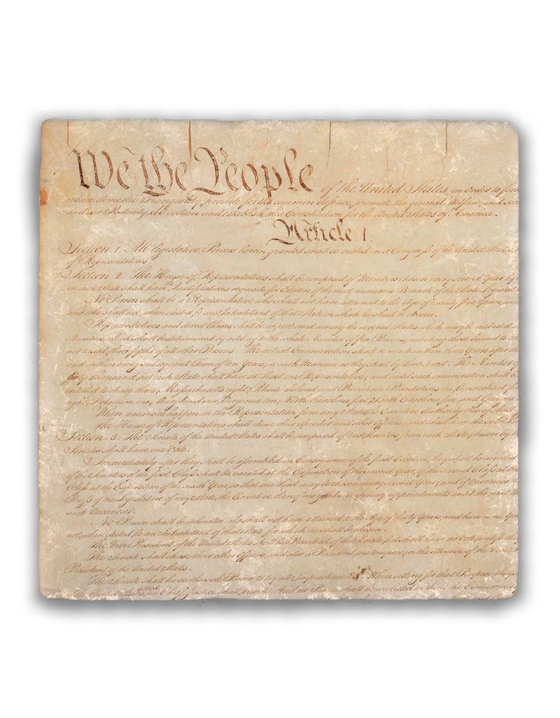 Nelsons Fine Art and Gifts U.S. Constitution Tumbled Stone Coaster