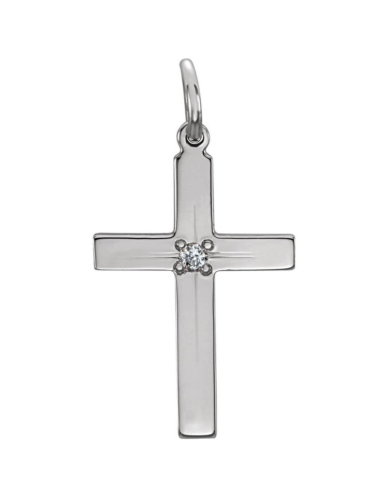 Stuller 14K White 13x9mm Diamond Cross Pendant