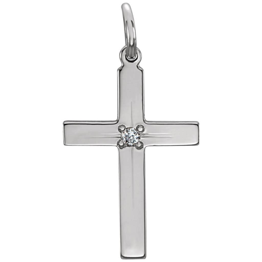 Stuller 14K White 13x9mm Diamond Cross Pendant