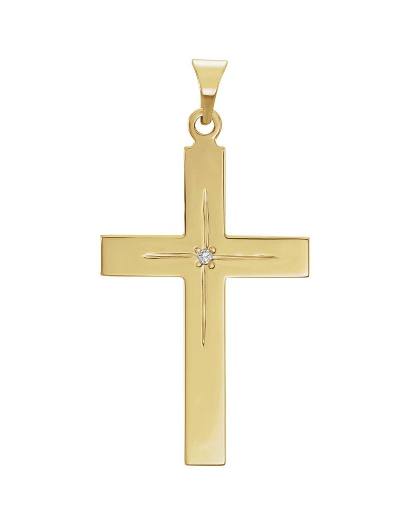 Stuller 14K Yellow Gold 13x9mm Diamond Cross Pendant