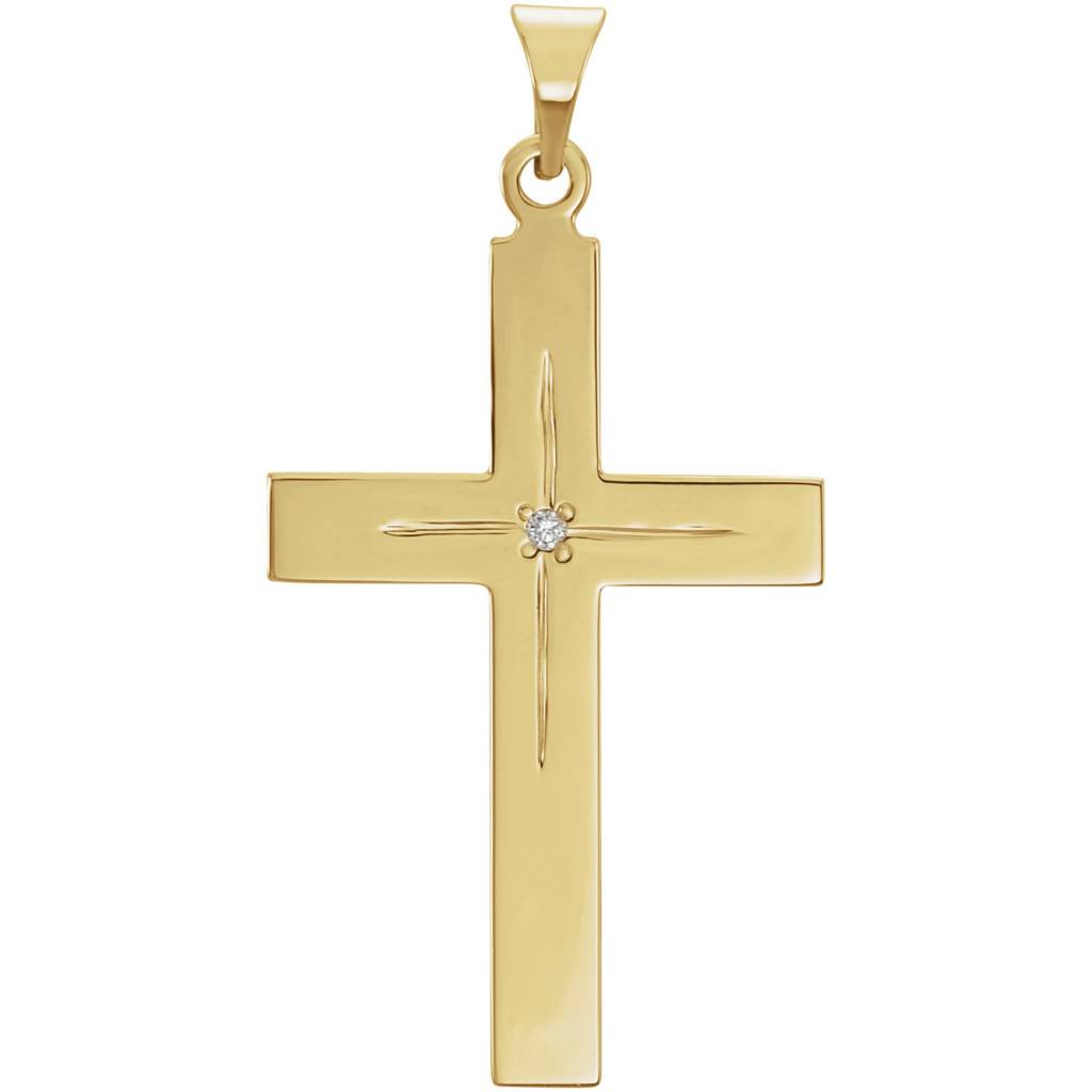 Stuller 14K Yellow Gold 13x9mm Diamond Cross Pendant