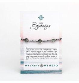 My Saint My Hero New Beginnings Crystal Benedictine Blessing Bracelet (Silver)