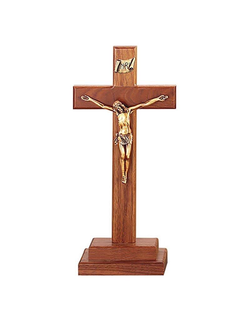 "Jeweled Cross Company 13"" Walnut Standing Crucifix"